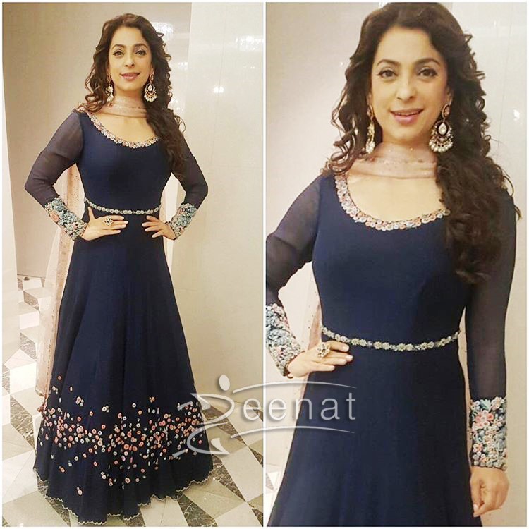 Juhi Chawla Blue Anarkali Churidar