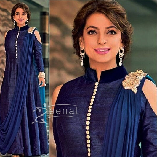 Juhi Chawla Peek A Boo Shoulder Gown