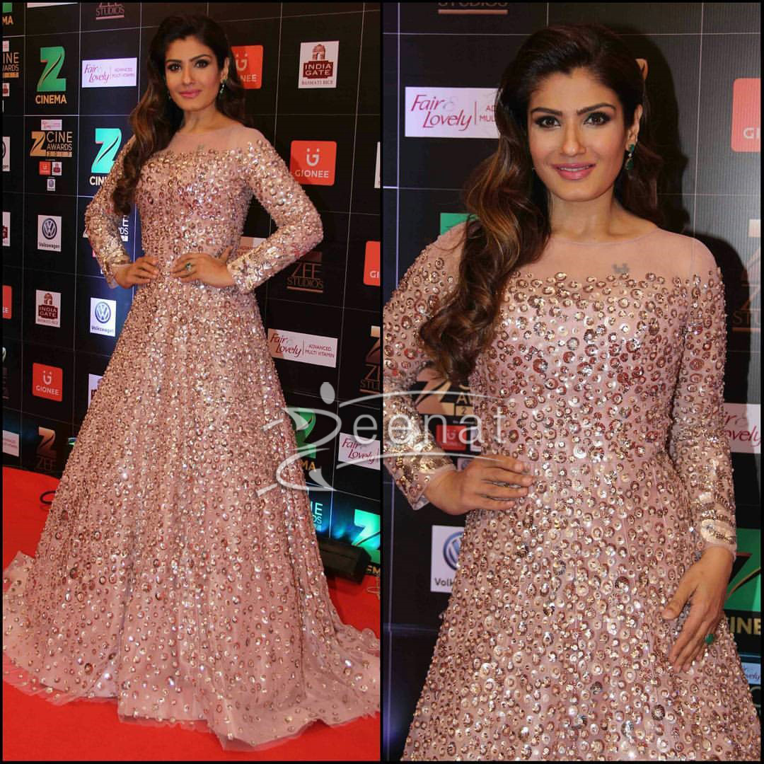 Raveena Tondon in Manish Malhotra Gown at Zee Cine Awards 2017