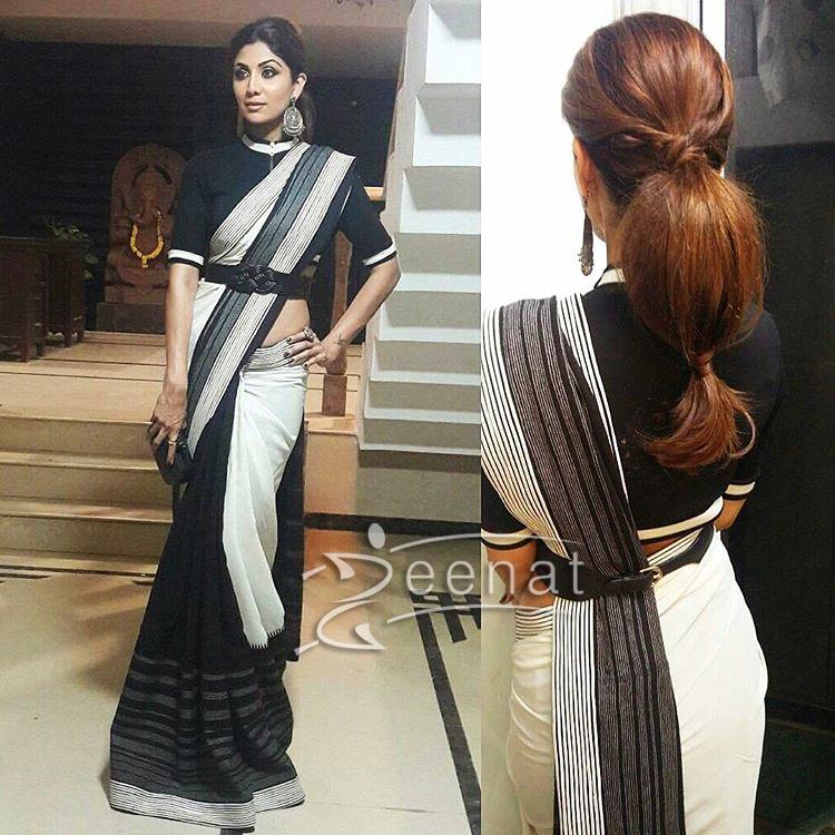shilpa shetty in shantanu nikhil monochrome saree