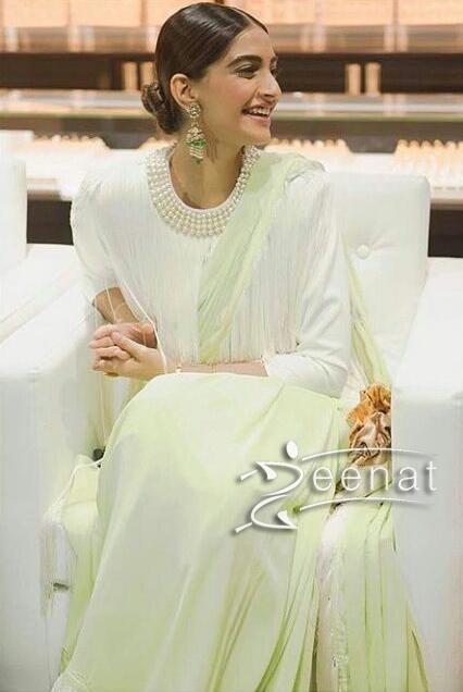 Sonam Kapoor in Abu Jani Sandeep Khosla Fringe Saree