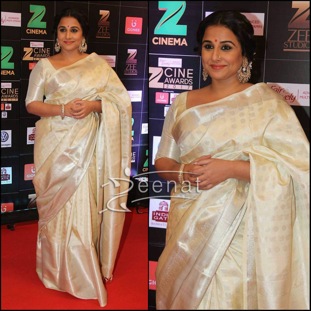 Vidya Balan in Second Silk Saree at Zee Cine Awards 2017