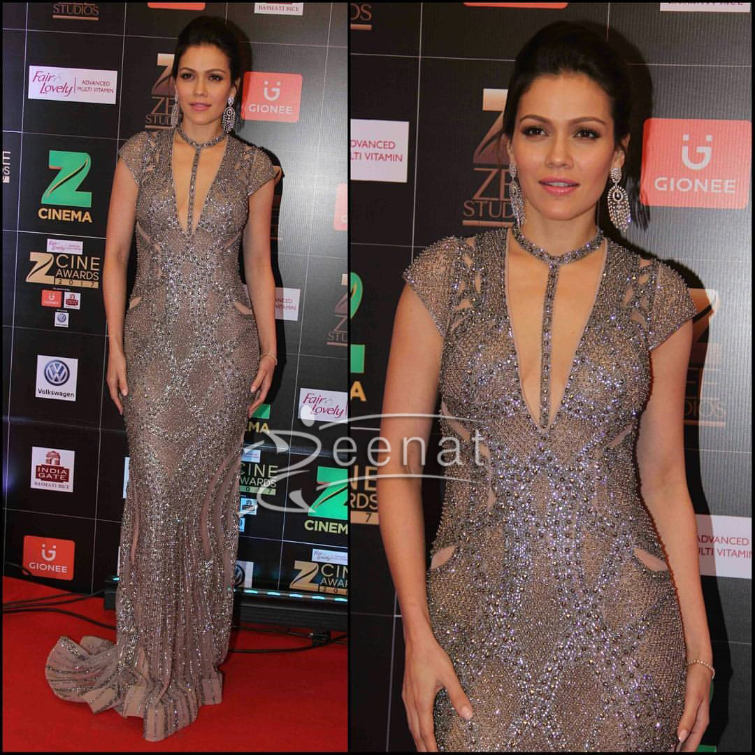Waluschaa in Falguni Peacock and Shane Peacock dress at Zee Cine Awards