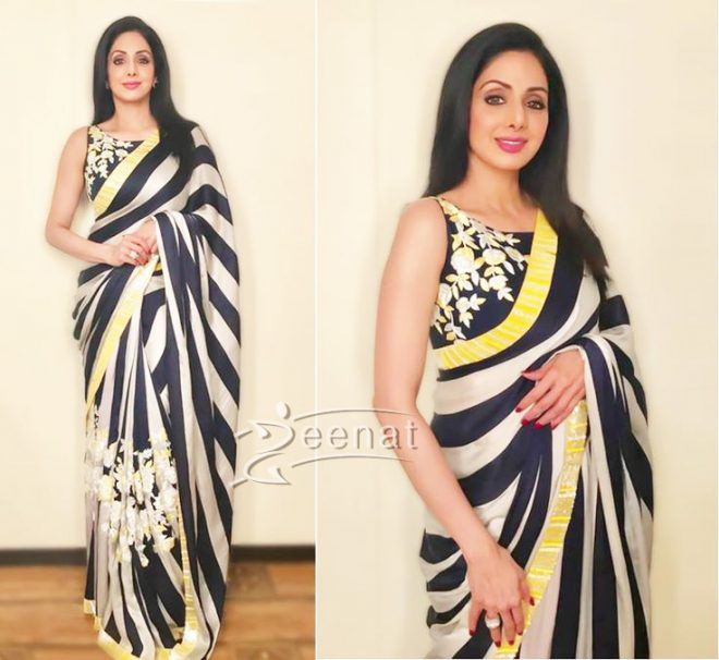 sridevi-black-and-white-saree-mom-promotions