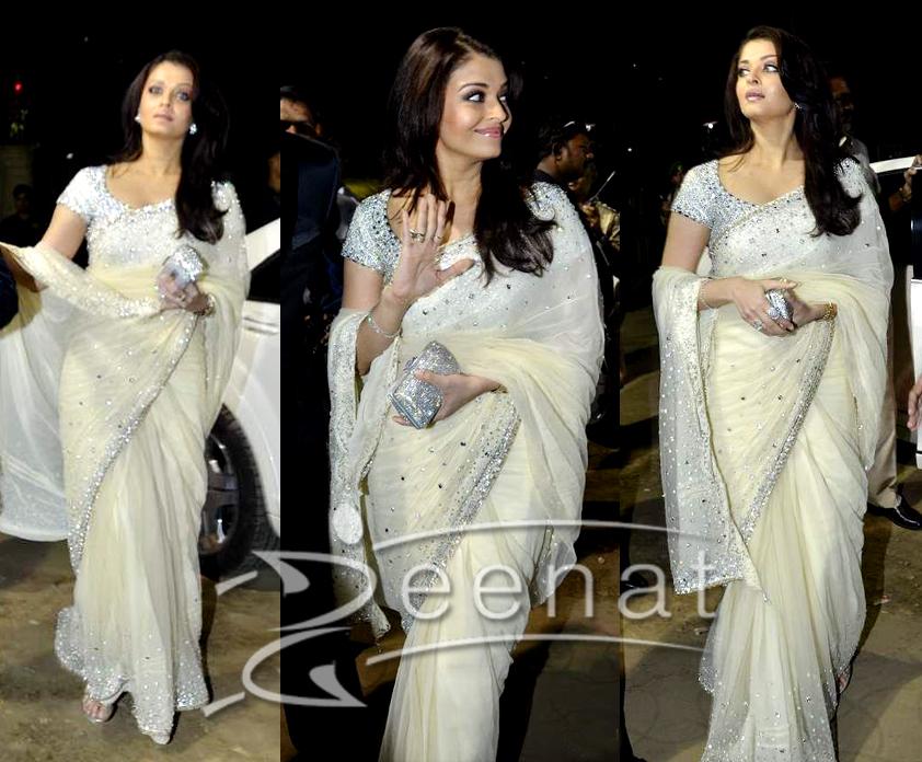 Aishwarya Rai White Bollywood Emboridered Saree