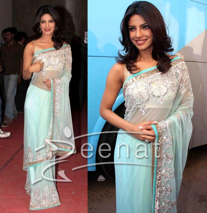 Blue Embroidered Border Saree on Priyanka Chopra