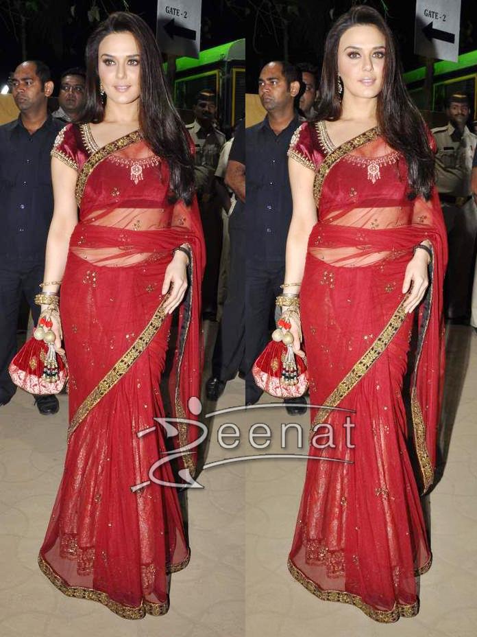 Bollywood Maroon Net Saree on Preity Zinta