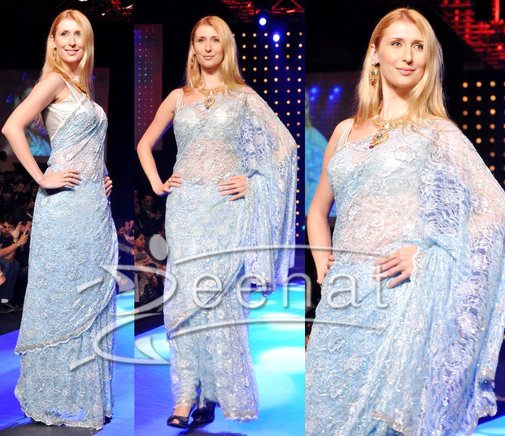 Bollywood Net Saree Styles on Claudia Ciesla