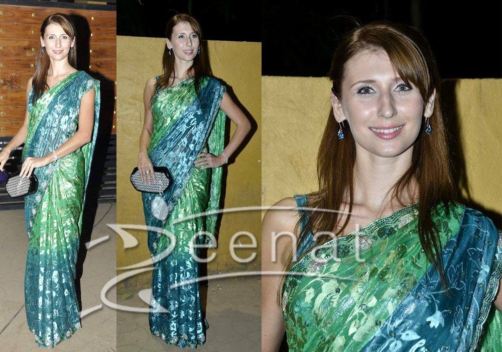 Bollywood Printed Silk Saree On Claudia Ciesla