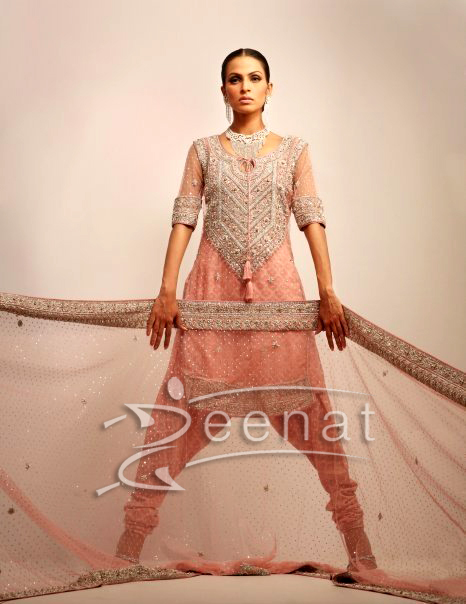 Embroidered Churidar Kameez On Fauzia Amir