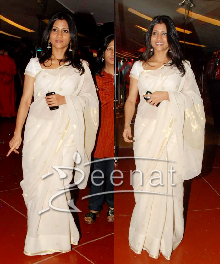 Konkona Sen In Casual Jamawar Saree