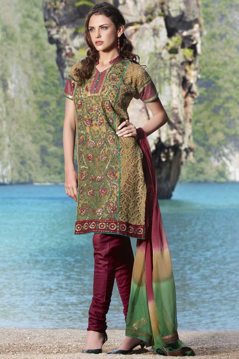 Maroon and Olive Green Cotton Party Shalwar kameez