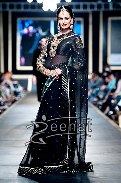 Mehreen Syed Pakistani Black Bridal Saree