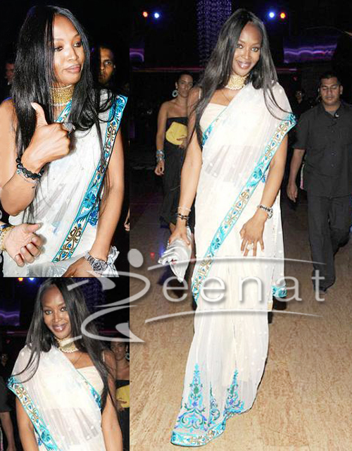 Hollywood Saree Style On Naomi Campbell