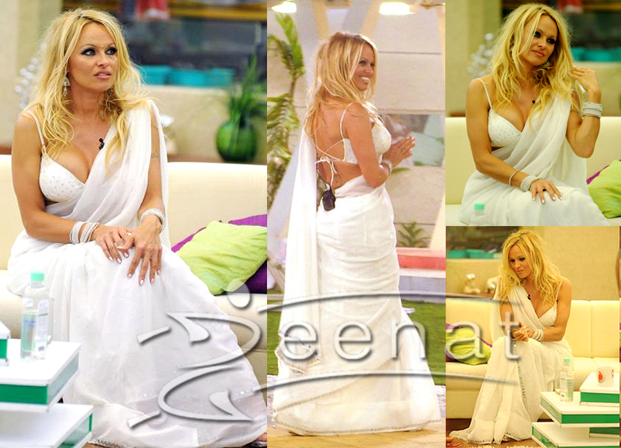 Pamela Anderson White Designer Saree