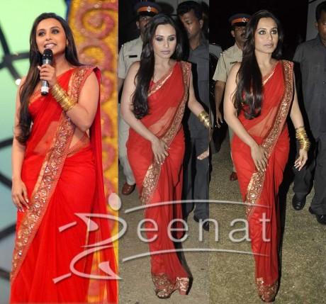 Rani Mukherjee Indian Red Saree Style