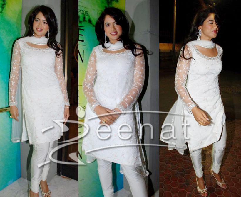 White Churidar Kameez Sameera Reddy