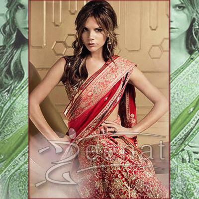 Victoria Beckham Bridal Embroidered Saree