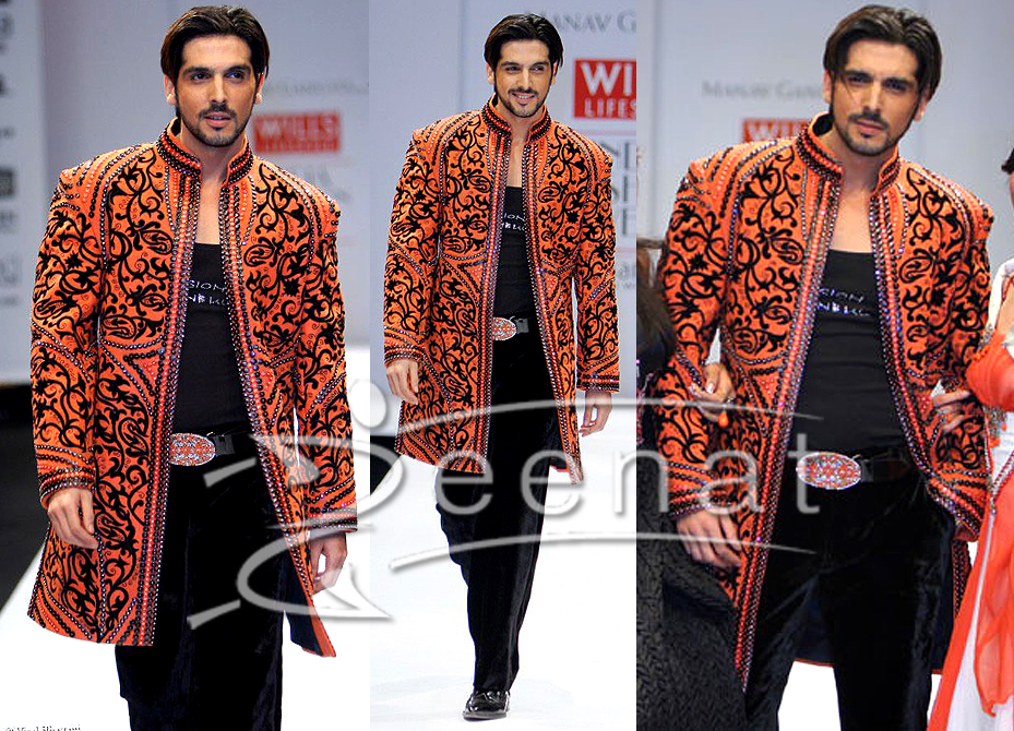 Zayed Men's Orange Black Sherwani Style