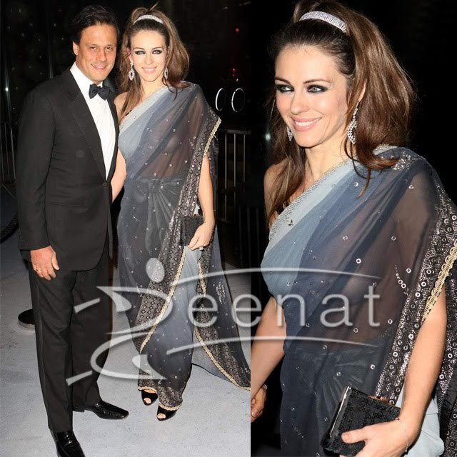 Elizabeth Hurley Embroidered Indian Saree