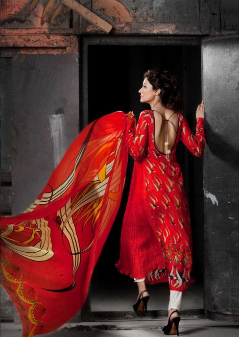 Red Designer Backless Trend | Mahnoush Summer Collection 2011