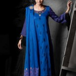 Deep Blue Parallel Suit | Mahnoush Summer Lawn Collection 2011