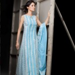 Blue Sleeveless Chiffon Dress | Mahnoush Summer Collection 2011