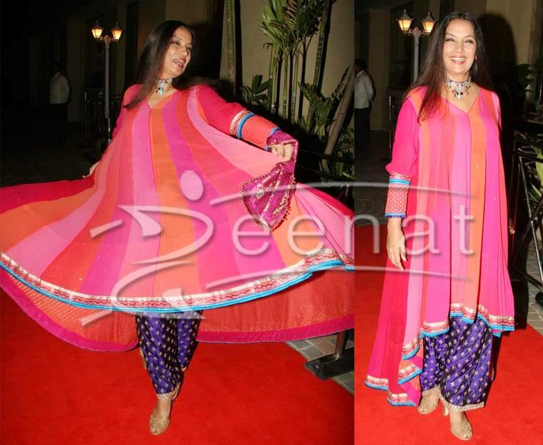 Shabana Azmi Indian A-Line Kameez