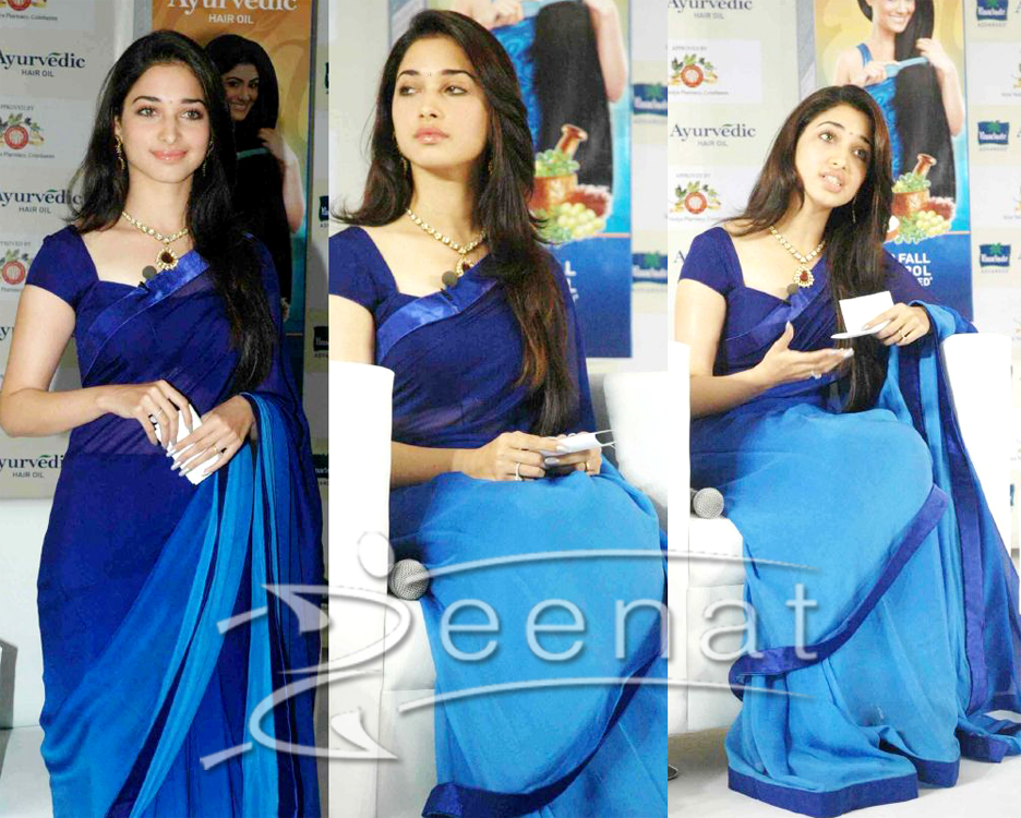 Tamanna In Indian Blue Saree