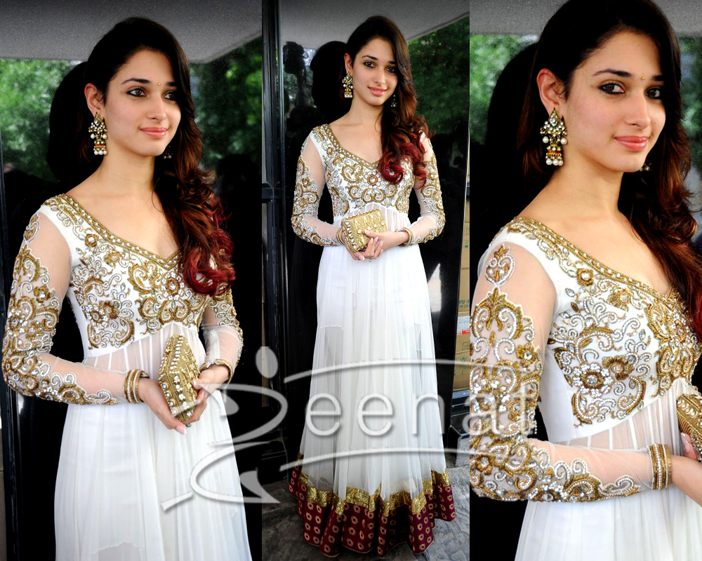 Tamanna In Embroidered Designer Frock
