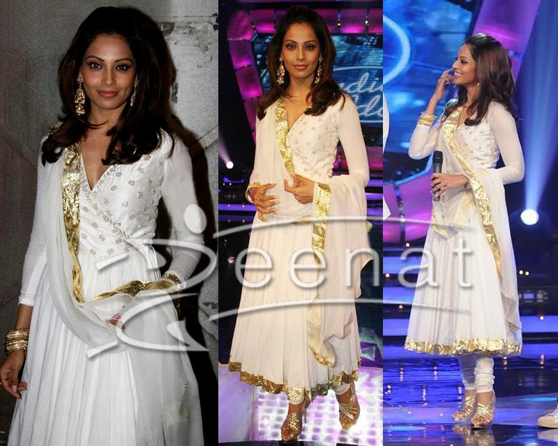 Bipasha Basu White Indian Anarkali