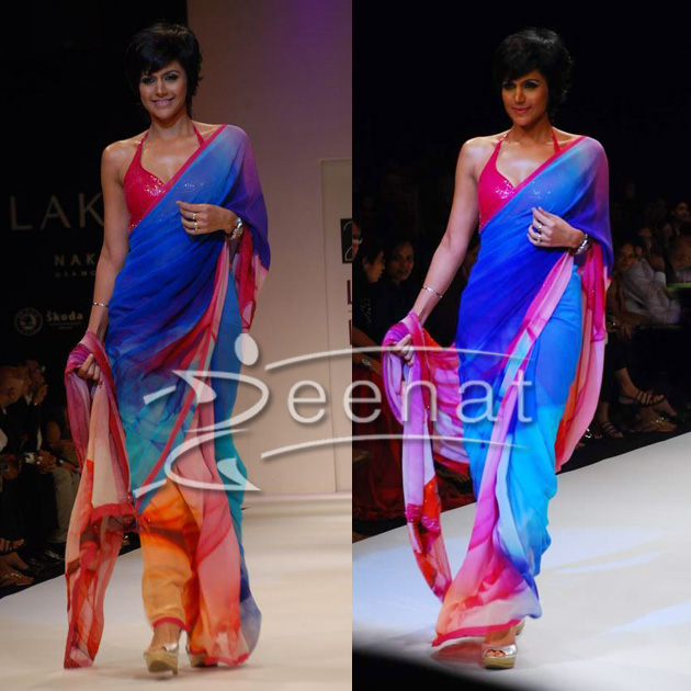 Mandira Bedi In Designer Printed Saree