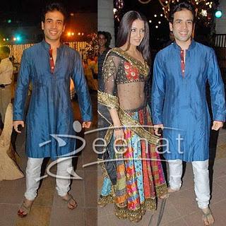 Tusshar Kapoor in blue kurta pajama