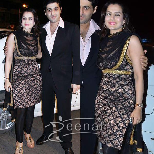 Amisha Patel In Black Churidar Salwar Kameez