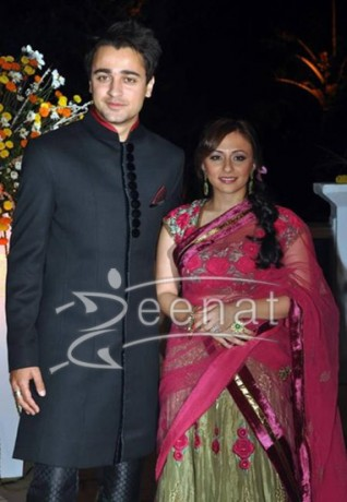 Imran khan In black Sherwani & Avantika in gold and pink lehenga