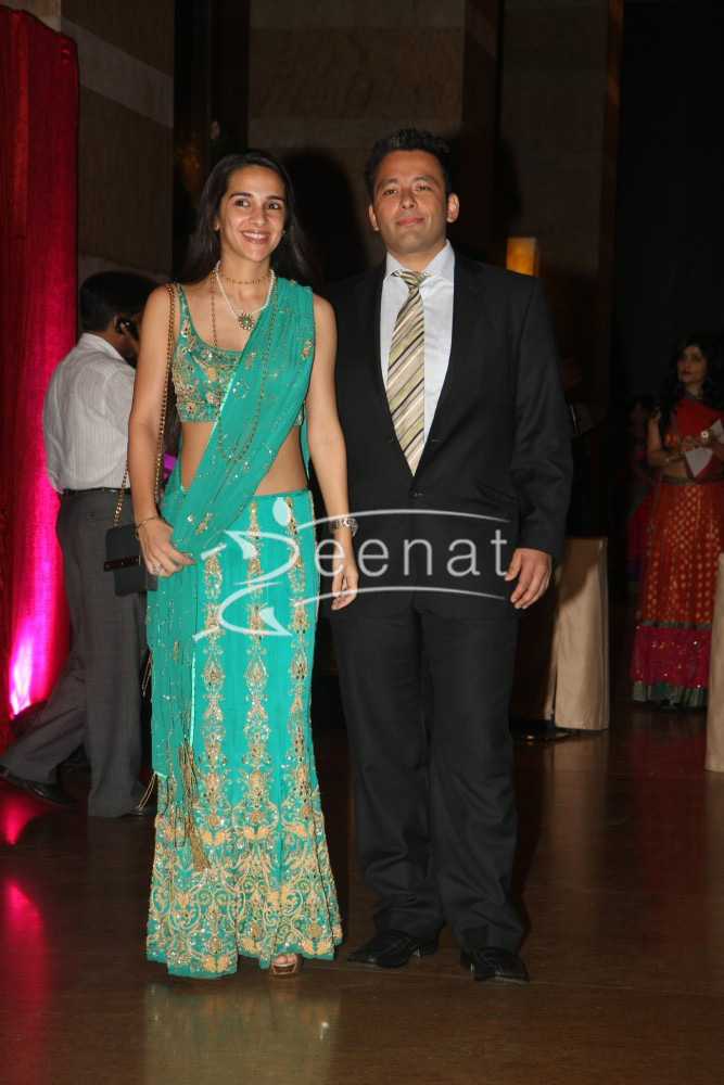 Tara Sharma with husband Roopak Saluja at Ritesh Deshmukh Genelia Wedding