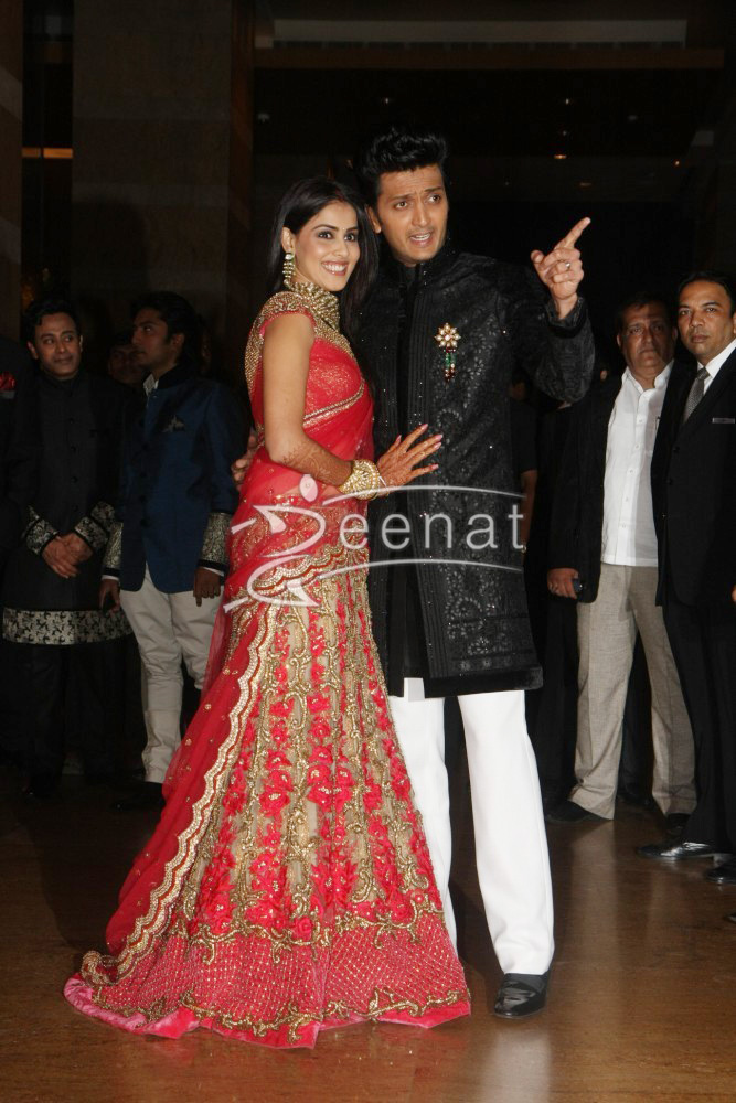 Ritesh Deshmukh With Genelia At Their Wedding Reception At Hotel