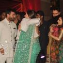 Aamir Khan hugging Kareena Kapoor at Ritesh Deshmukh Genelia Wedding Reception at Hotel Grand Hyatt in Mumbai