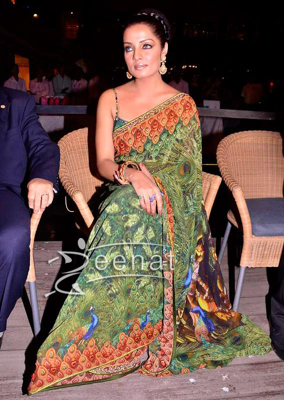 Celina Jaitley Printed Indian Saree