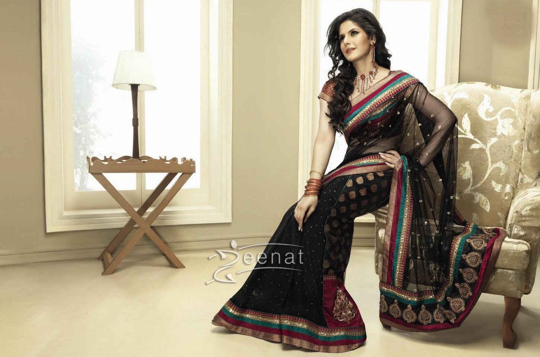 Zarine Khan Black Saree
