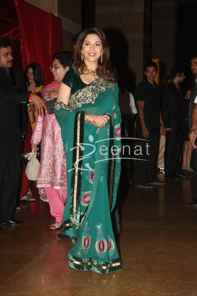 Madhuri Dixit Nene at Ritesh Deshmukh Genelia Wedding Reception at Hotel Grand Hyatt in Mumbai