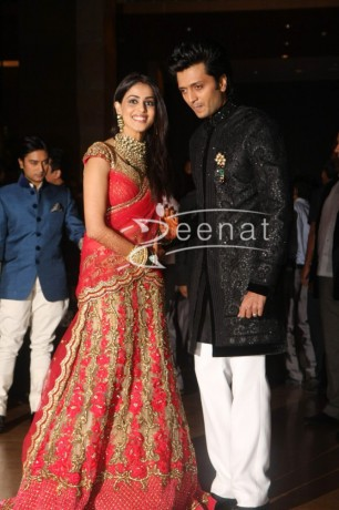 Ritesh Deshmukh with Genelia at their Wedding Reception pics at Hotel Grand Hyatt in Mumbai