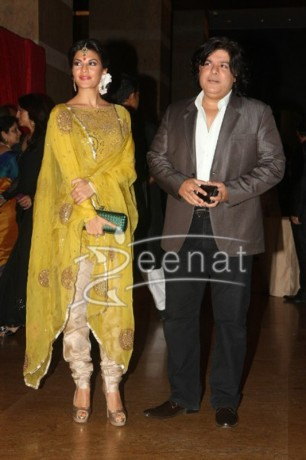 Jacqueline Fernandez with boyfriend Sajid Khan at Ritesh Deshmukh Genelia Wedding Reception at Hotel Grand Hyatt in Mumbai