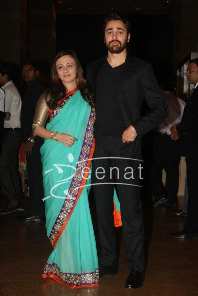 Imran Khan with wife Avantika at Ritesh Deshmukh Genelia Wedding Reception at Hotel Grand Hyatt in Mumbai