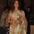 Bipasha Basu at Ritesh Deshmukh Genelia Wedding Reception In Golden Saree