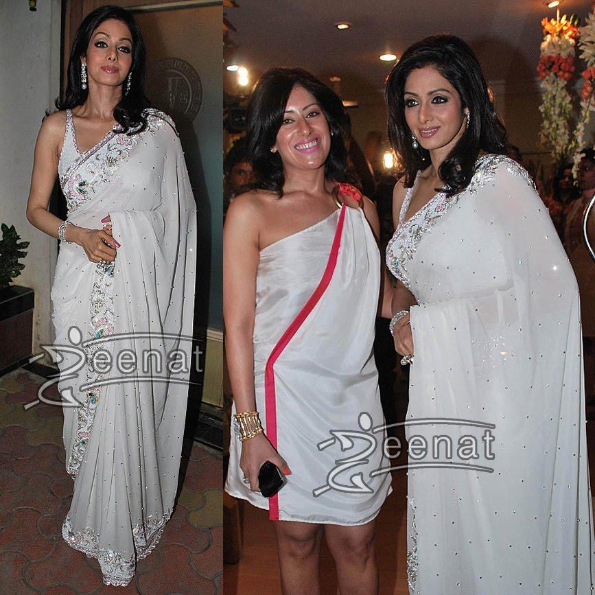 Sri Devi in White Indian Saree