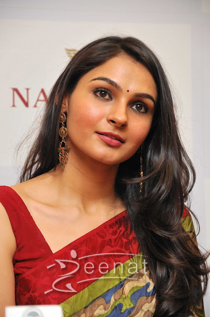 Andrea Jeremiah Red Saree