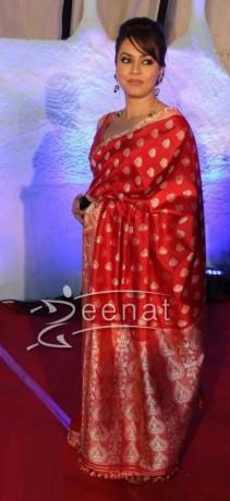 Mahima Chaudhary Red Saree