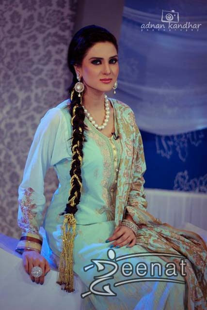 Fiza Ali in Light Green Printed Salwar Kameez