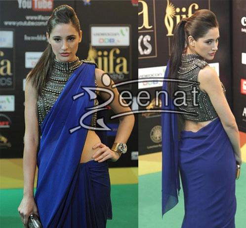 Nargis Fakhri hot Blue Saree